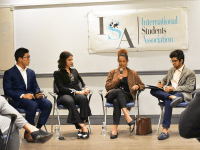 AMBER GILLETTE/THE HOYA  Lannan Center for Poetics and Social Practice Chair Aminatta Forna led students in discussion of national identity and cultural stereotypes in Trump's America.