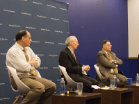 ANNA KOVACEVICH/ THE HOYA Cybersecurity experts James Carafano ,left, Robert Lieber and Samuel Visner discussed the role of social media in Russian election interference.
