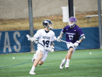 AMANDA VAN ORDEN FOR THE HOYA Sophomore attack Jake Carraway scored four goals in Georgetown's 12-11 win over Robert Morris University last Saturday. Carraway currently leads the Hoyas with nine goals and 11 points.