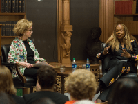 AARON WEINMANN FOR THE HOYA Associate Vice President for Student Affairs Jeanne Lord, left, moderated a conversation with Vice President for Institutional Diversity and Equity Rosemary Kilkenny on Feb. 28.