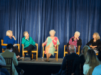 LAUREN SEIBEL/THE HOYA Melanne Verveer (I '66, MS '69), left, moderated a panel of four of the School of Foreign Service's first women graduates — Barbara Berky Evans (SFS '58), Barbara Hammes Sharood (SFS '58), Helene Gettler Mallett (SFS '59) and Paula Wiegert Tosini (SFS '60) — on April 18 in Fisher Colloquium.