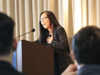 LGBTQ RESOURCE CENTER Pamela Chen (LAW '86), a federal district judge for the U.S. District Court for the Eastern District of New York, addressed the attendees of the 2018 Lavender Graduation.