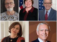 Scott Guggenheim, top left, Catherine Novelli, Ambassador Jeffrey Laurentis,  Gen. Wesley K. Clark (ret.), and Dr. Azar Nafisi will serve as the SFS centennial fellows for the 2018-2019 academic year.