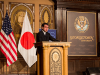 AMY LI FOR THE HOYA Japanese Foreign Minister Taro Kono (SFS '86) called for a multinational effort to defend the current political atmosphere from challenges to its democratic values at an event in Gaston Hall Sept. 28.