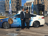 BRITISH PARKING Ford Autonomous Vehicles President and CEO Sherif Marakby (left) and Mayor Muriel Bowser (D) (right) announced a partnership to test autonomous vehicles in Washington, D.C., early next year. Ford will also run a training program for workers displaced by driverless cars.