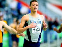 GU HOYAS | Junior Quincey Wilson finished in second place in the 400-meter race with a time of 48.69.