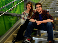 AMBER GILLETTE/THE HOYA | Sam Appel (COL '20), right, resigned from the GUSA senate and stepped down from the executive race Monday night. His former running mate Nicki Gray (NHS '20) announced she is continuing her run for GUSA president alone Tuesday evening.