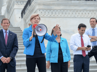ELIZABETH WARREN | Sen. Elizabeth Warren (D-Mass.), second from left, launched a petition in support of D.C. statehood.