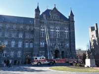 MARGARET FOUBERG FOR THE HOYA | Smoke from a defective heating, ventilation and air conditioning unit caused the evacuation of Healy Hall on Monday afternoon.