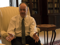 AMBER GILLETTE/THE HOYA | University President John J. DeGioia sat down with editor-in-chief of The Hoya Maya Gandhi (SFS '20) to discuss the GU272 referendum, Title IX policies, the admissions bribery scheme and the university's ties to the clerical sexual abuse crisis.