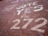 AMBER GILLETTE/THE HOYA | The GU272 referendum, which passed with 66 percent of students voting in favor of a reconciliation fee, awaits university approval.