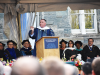 AMBER GILLETTE/THE HOYA | Chef and humanitarian José Andrés addresses graduates of the McCourt School of Public Policy on May 16.