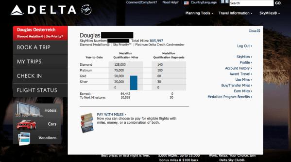 Delta MQM Rollover from 2011 – 64k MQM YTD for 2012!