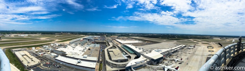 ATL Panorama view to the East overlooking Concourse F, TechOps and end of the runways.