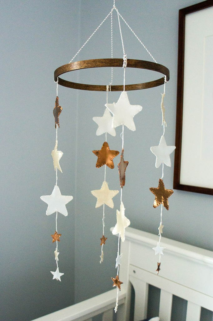 Baby Andrew's space cowboy themed nursery. DIY star mobile.