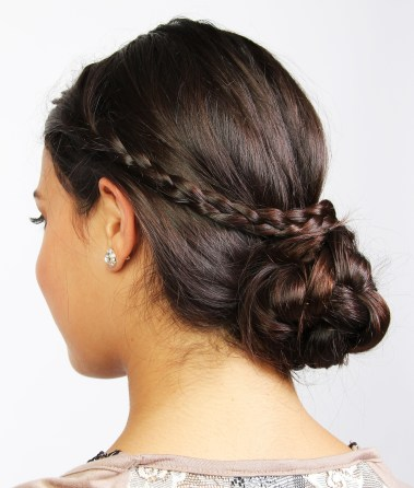Crossed braid bun, Image Courtesy: Anisha Wagle