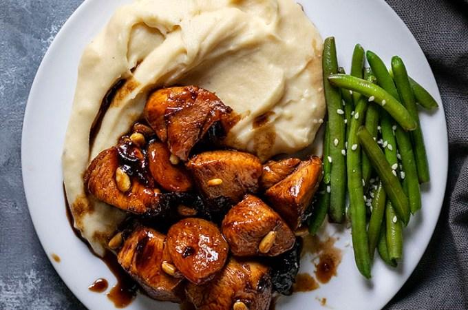 Υγιεινό και γρήγορο κοτόπουλο με βαλσάμικο μέλι και ξερά φρούτα