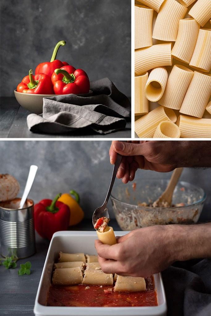 Γεμιστά κανελόνια ή πακέρι με φέτα και πιπεριές 3