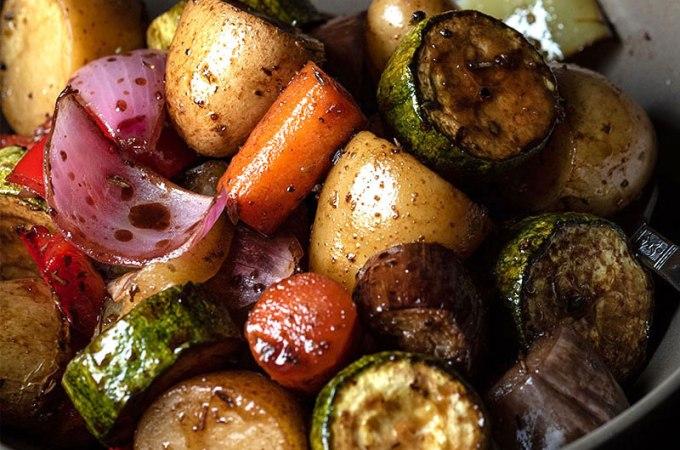 ψητά λαχανικά φούρνου με μπαλσάμικο και μέλι
