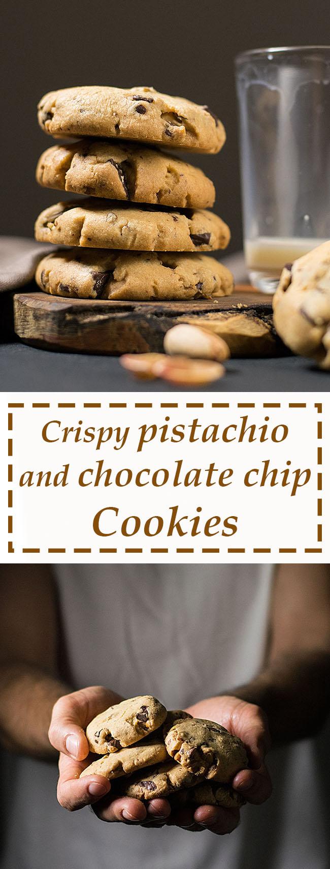 crispy pistachio and chocolate chip cookies 5