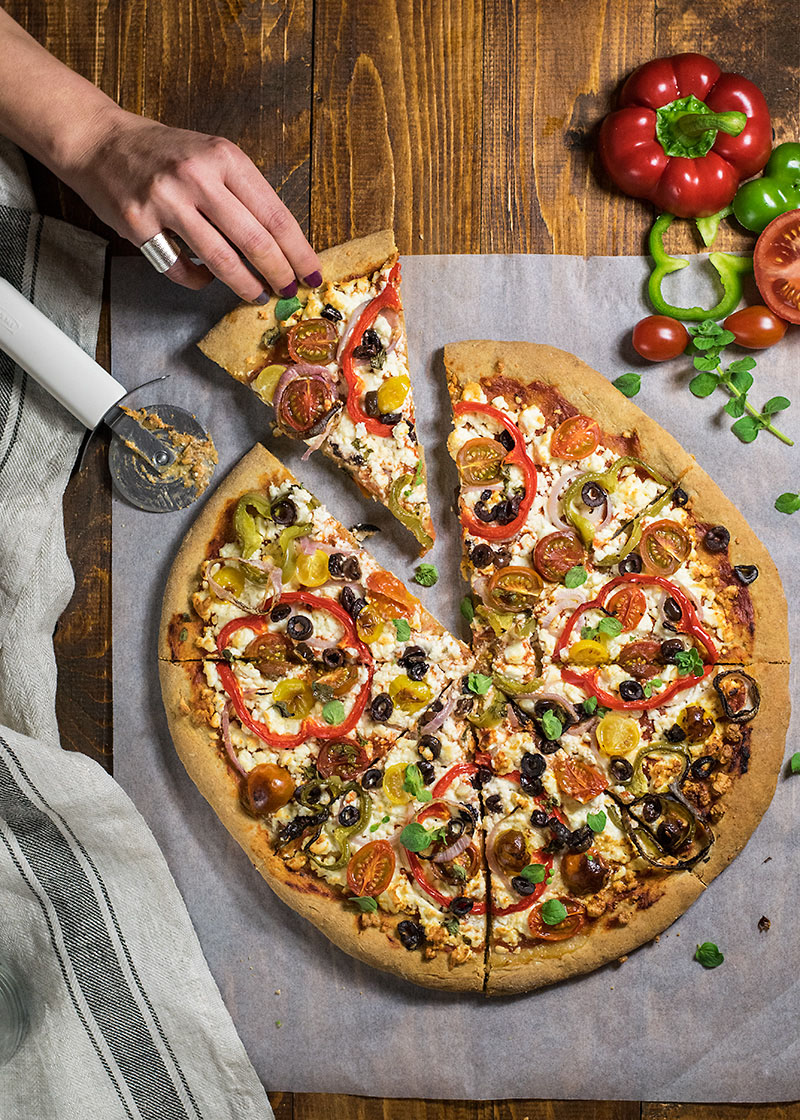 Whole wheat Mediterranean pizza 4