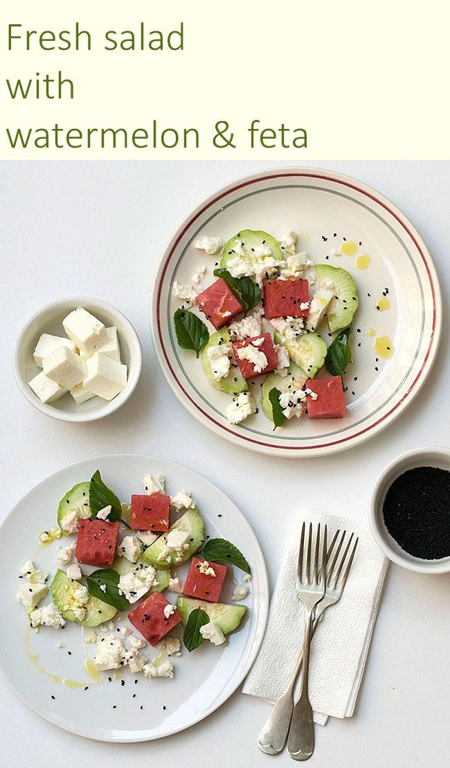 Mediterranean watermelon & feta cheese salad 6