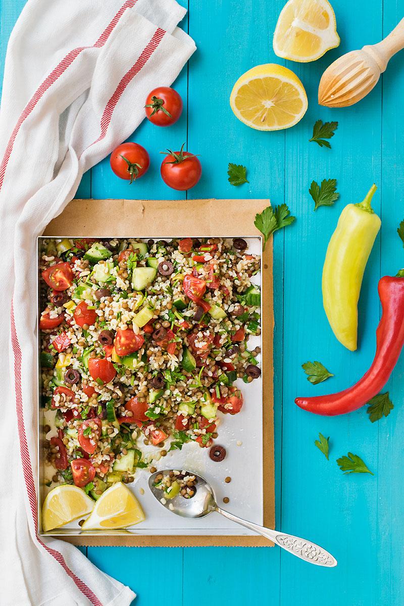 Mediterranean bulgur & lentil lunch salad