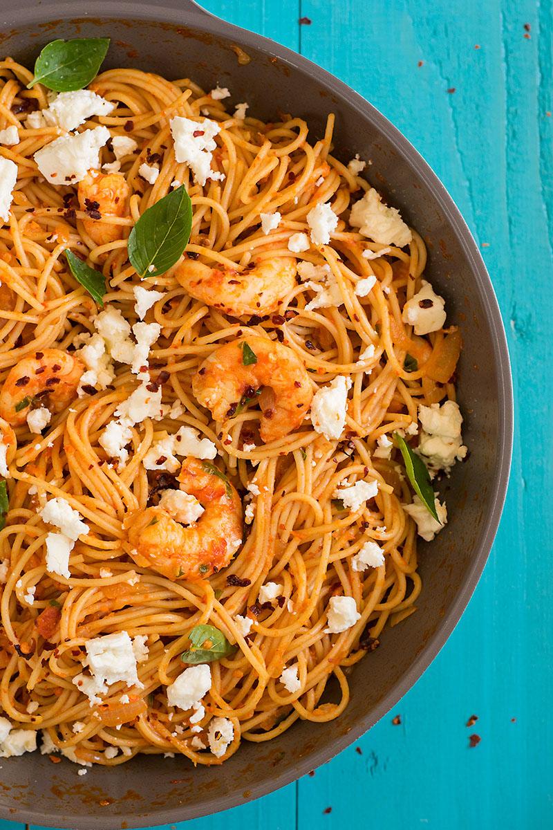 Roasted pepper and ouzo shrimp spaghetti 5