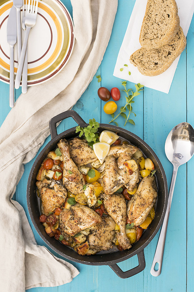 Baked Greek chicken with haloumi and heirloom tomatoes 3