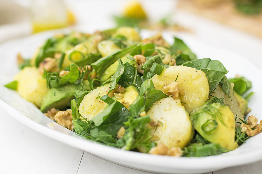 Mayo-less potato & avocado salad with greens 5