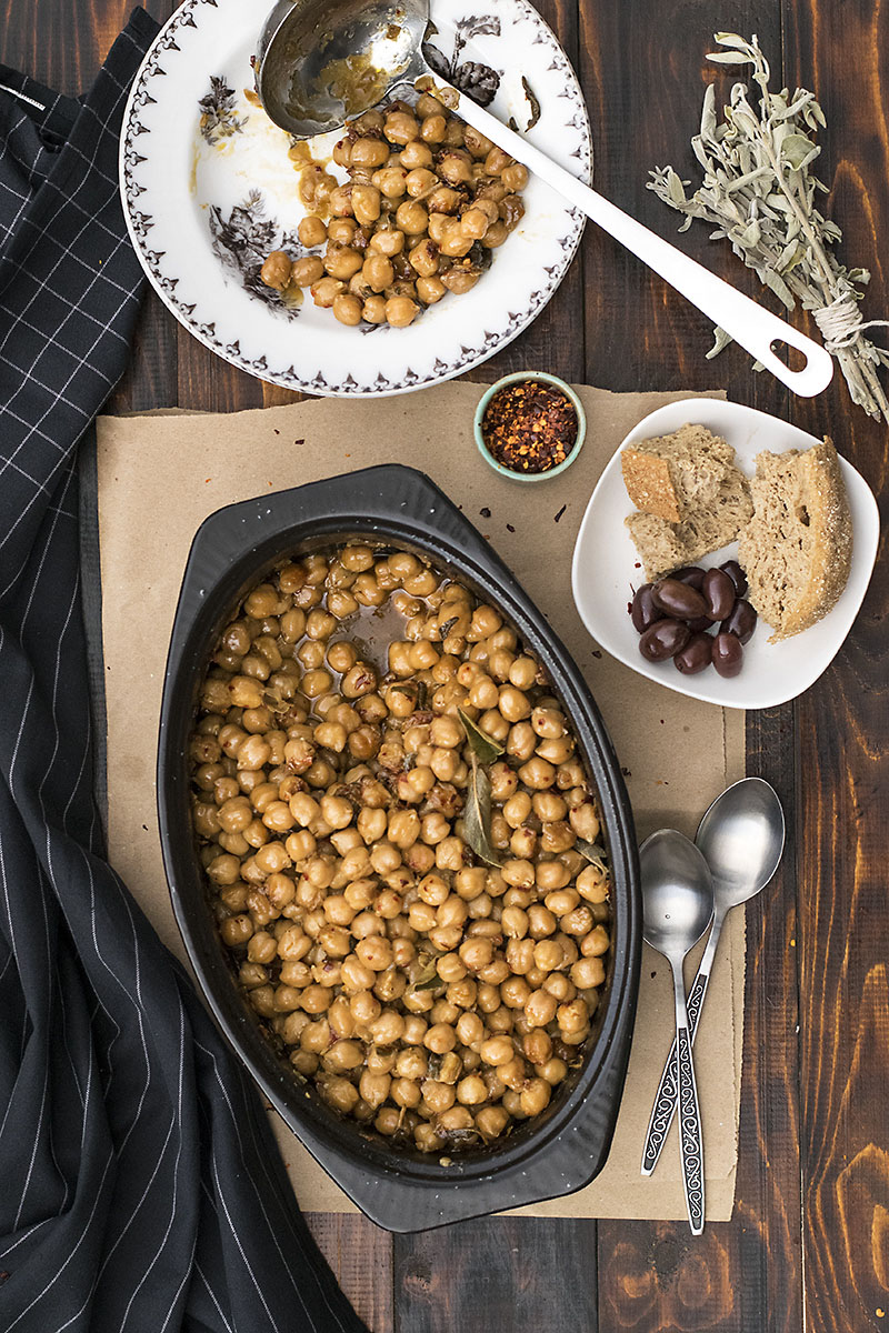 Greek traditional baked chickpeas (Revithada)