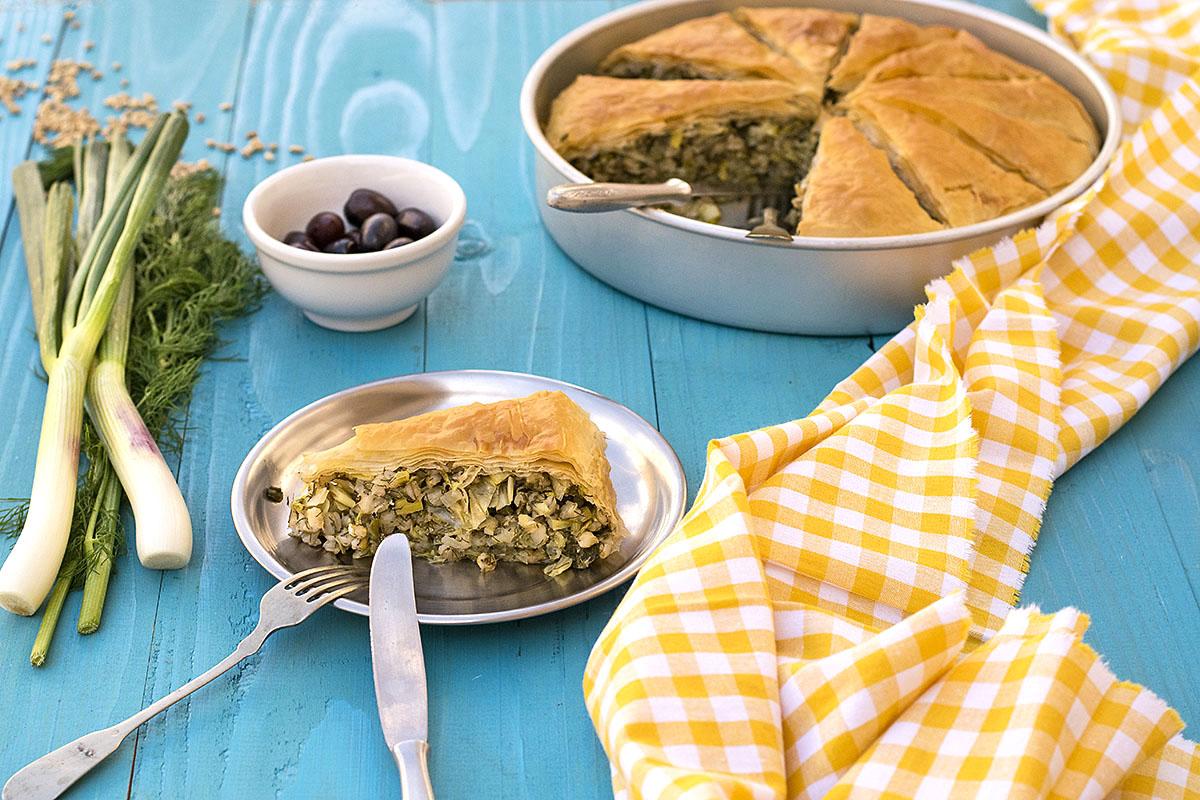 Mediterranean leek, fennel and barley pie (Vegan) 4