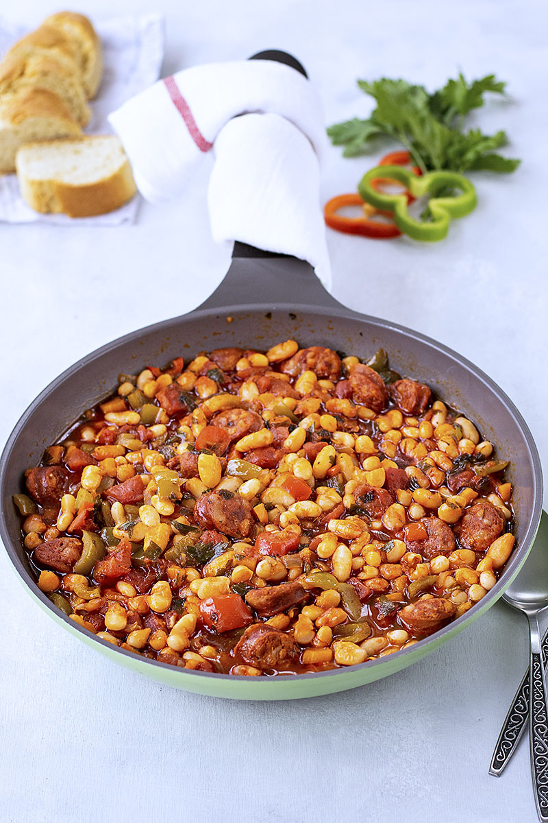 Spanish white bean stew with chorizo sausage 4