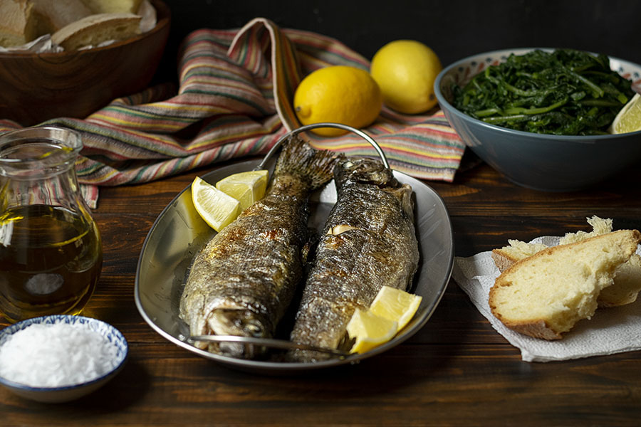 Simple broiled rainbow trout with dandelion greens 4