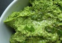 bowl of smashed peas