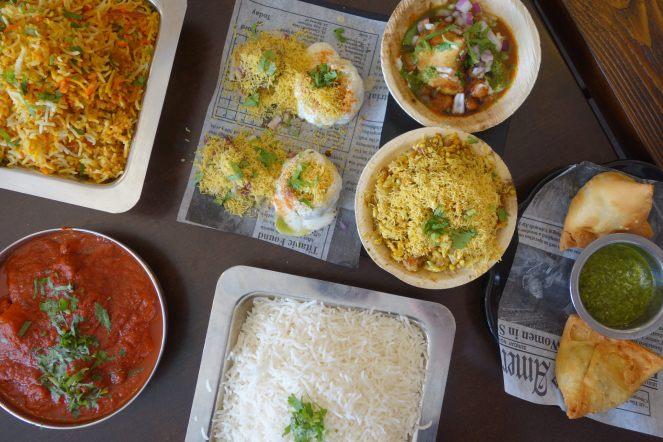 Chat Platter, Biryani, Curry, Rice