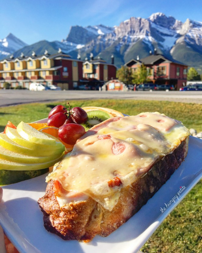 Open faced Croque Monsieur from Le fournil Bakery in Canmore