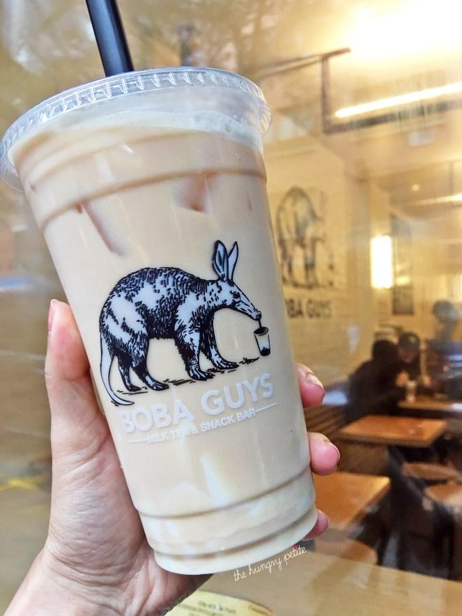 Rose milk tea, 50% sweet, with almond jelly.