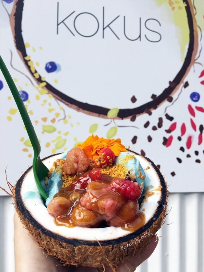 Kokus coconut bowl made with Blue Majik (blue-green algae) and other majikal foods