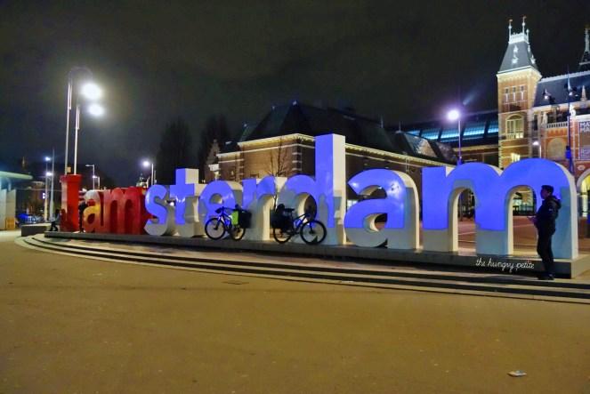 I Amsterdam Sign at 11pm