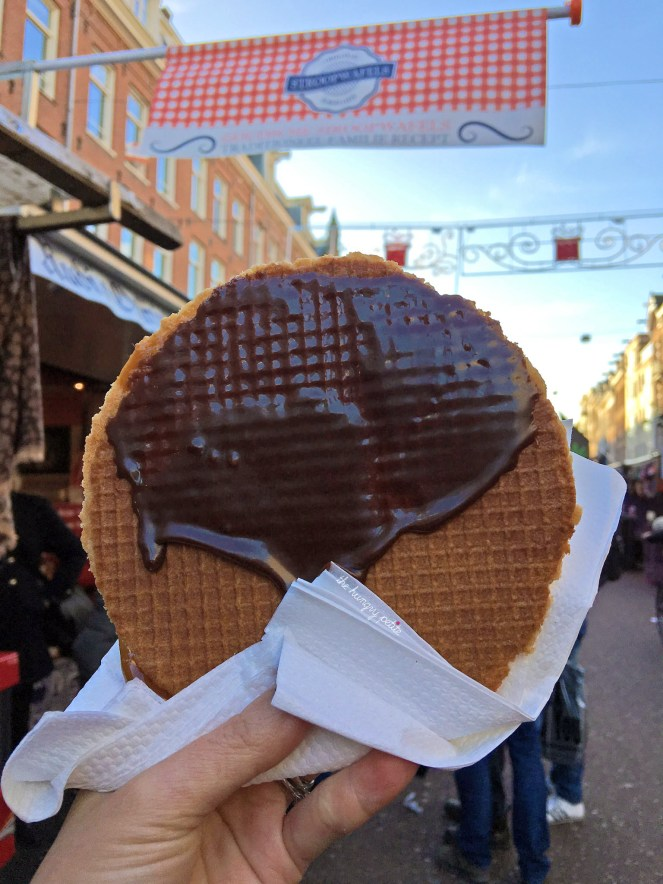 Original Stroopwafel with chocolate. You should go to this stand to get a stroopwafel. I tried the other stroopwafels stands and they were not as good in comparison. Original Stroopwafels, Albert Cuypstraat 182, 1072 EA Amsterdam