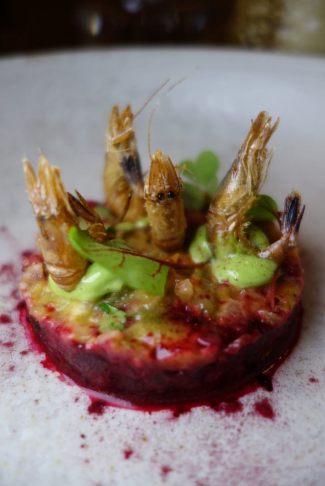 Beef Tartare with fried shrimp