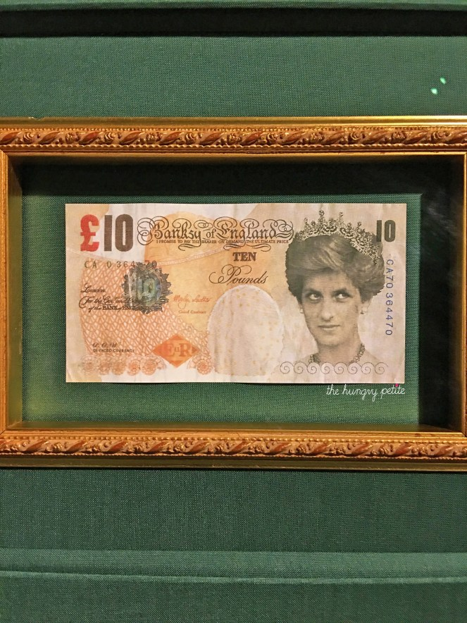 Diana Ten Pound Note - these works of art were thrown into a crowd. People tried to use them as real money, not realizing they were fake, thus inadvertently turning it from art into counterfeit money. Banksy is wanted for forgery. Lol.