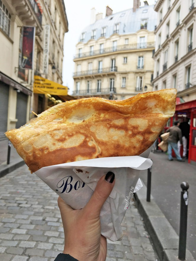 Egg, ham and cheese (very generous with the cheese) crêpe. So delicious!