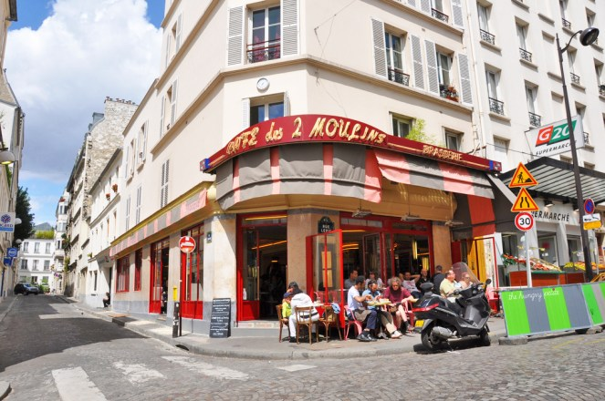Café des 2 Moulins - It takes its name from the two nearby historical windmills, Moulin Rouge and Moulin de la Galette. It is also the café featured in the film Amélie