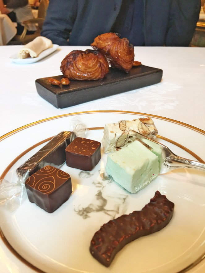 Kouign amann, candied almonds, chocolates, caramels, nougat, absinthe marshmallow. They kept feeding us these from their dessert cart. I ate until I could feel the food stacked up to the top of my throat.