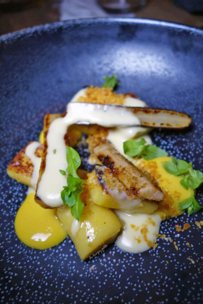 Seared gnocchi, salsify and smoked Westcombe cheddar sauce