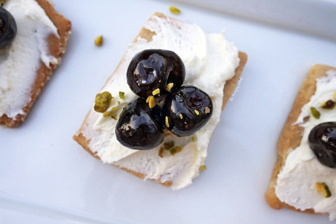 """Dessert """"Crostini"""" - amarena cherry, mascarpone, pistachio, shortbread. Get this if you want a light dessert option. Just enough sweetness to satisfy a small sugar craving. $10"""