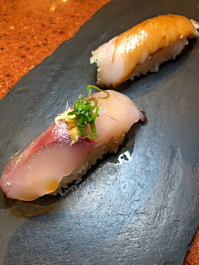 Sawara (Hay Smoked Japanese Spanish Mackerel) and Tennen Aji (Line Caught Japanese Horse Mackerel). Mackerel have a slightly fishier taste so if you're not into that, skip these. I personally like them.