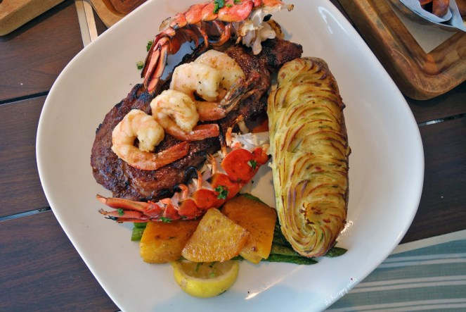 Prime Rib Eye- 16 oz medium rare with garlic butter shrimp and East coast lobster tail. $70